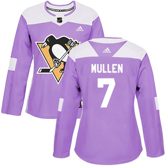 Joe Mullen Pittsburgh Penguins Women's Authentic Fights Cancer Practice Adidas Jersey - Purple