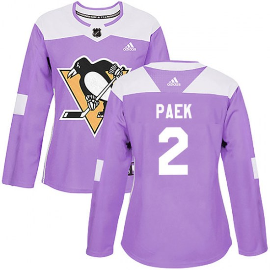 Jim Paek Pittsburgh Penguins Women's Authentic Fights Cancer Practice Adidas Jersey - Purple