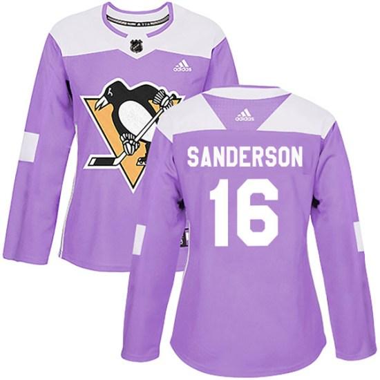 Derek Sanderson Pittsburgh Penguins Women's Authentic Fights Cancer Practice Adidas Jersey - Purple