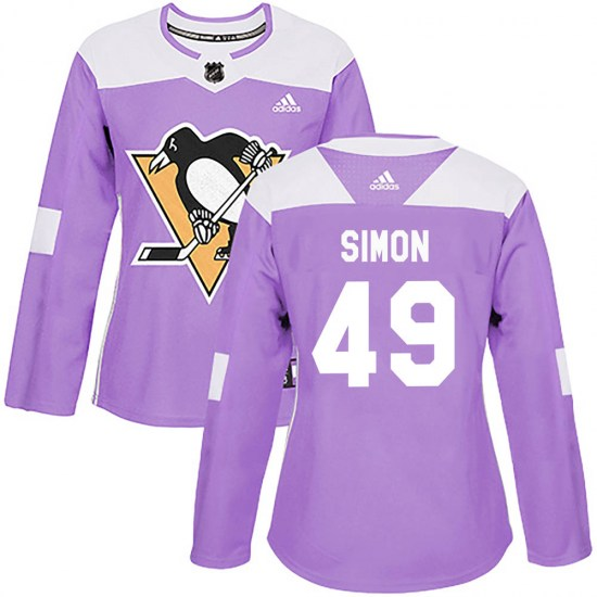 Dominik Simon Pittsburgh Penguins Women's Authentic Fights Cancer Practice Adidas Jersey - Purple