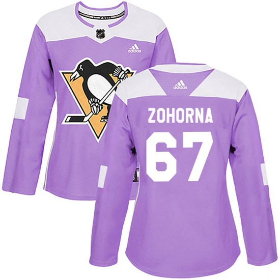 Radim Zohorna Pittsburgh Penguins Women's Authentic Fights Cancer Practice Adidas Jersey - Purple