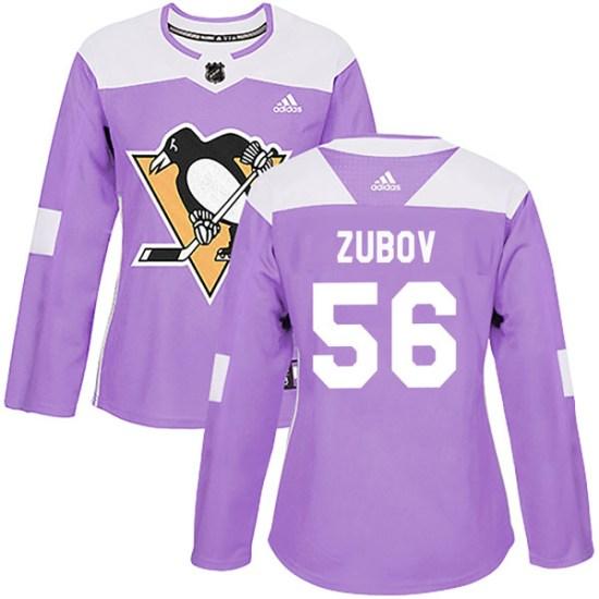Sergei Zubov Pittsburgh Penguins Women's Authentic Fights Cancer Practice Adidas Jersey - Purple