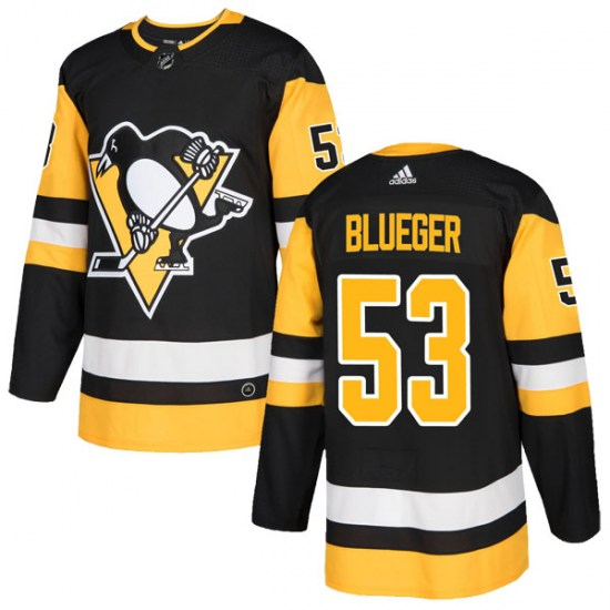 Teddy Blueger Pittsburgh Penguins Authentic Black Home Adidas Jersey - Blue