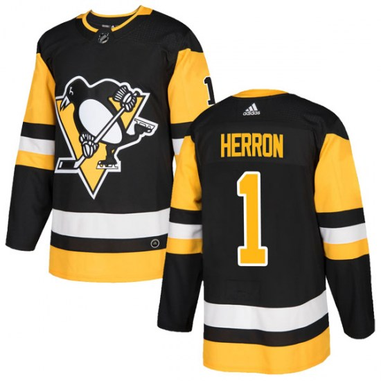Denis Herron Pittsburgh Penguins Authentic Home Adidas Jersey - Black