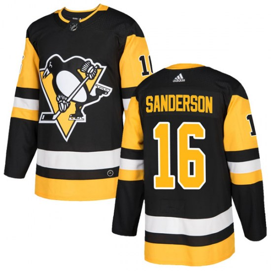 Derek Sanderson Pittsburgh Penguins Authentic Home Adidas Jersey - Black