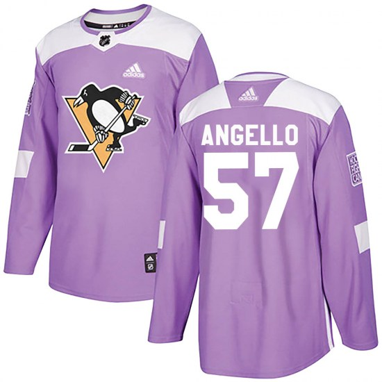 Anthony Angello Pittsburgh Penguins Youth Authentic Fights Cancer Practice Adidas Jersey - Purple