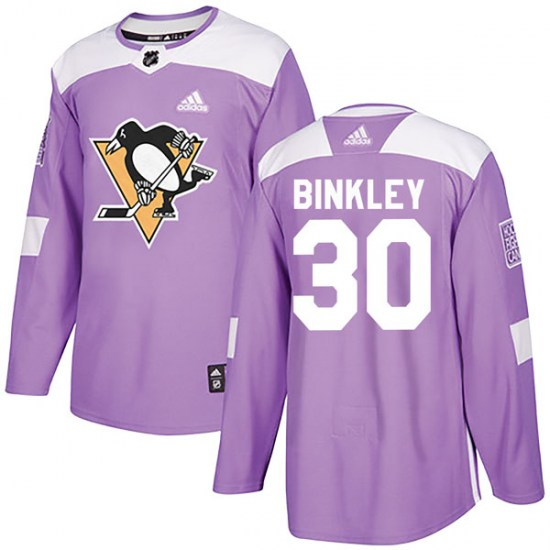 Les Binkley Pittsburgh Penguins Youth Authentic Fights Cancer Practice Adidas Jersey - Purple
