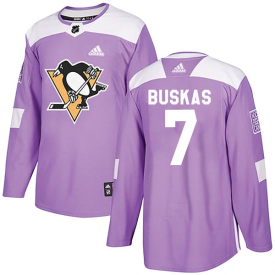 Rod Buskas Pittsburgh Penguins Youth Authentic Fights Cancer Practice Adidas Jersey - Purple