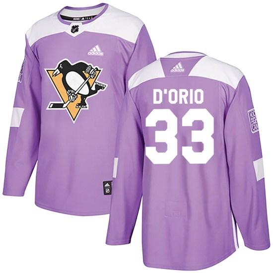 Alex Dorio Pittsburgh Penguins Youth Authentic Alex DOrio Fights Cancer Practice Adidas Jersey - Purple