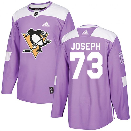 Pierre-Olivier Joseph Pittsburgh Penguins Youth Authentic ized Fights Cancer Practice Adidas Jersey - Purple