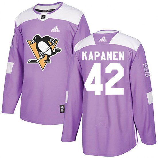 Kasperi Kapanen Pittsburgh Penguins Youth Authentic Fights Cancer Practice Adidas Jersey - Purple