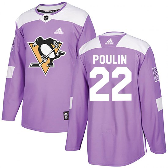 Samuel Poulin Pittsburgh Penguins Youth Authentic Fights Cancer Practice Adidas Jersey - Purple
