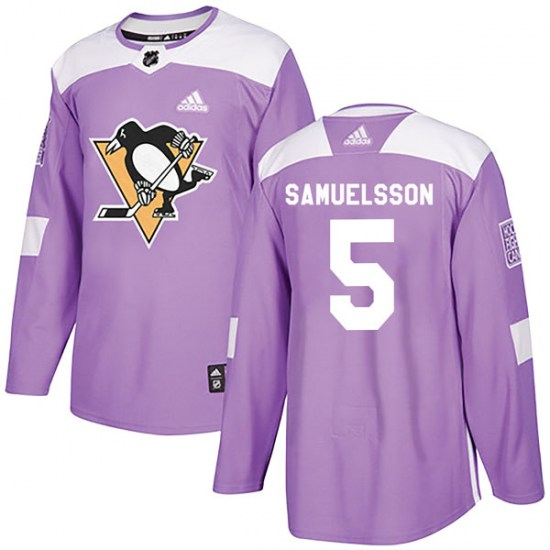 Ulf Samuelsson Pittsburgh Penguins Youth Authentic Fights Cancer Practice Adidas Jersey - Purple