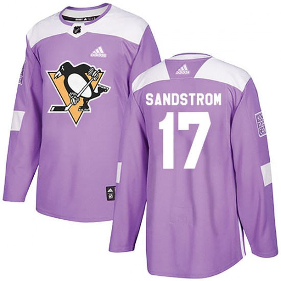 Tomas Sandstrom Pittsburgh Penguins Youth Authentic Fights Cancer Practice Adidas Jersey - Purple