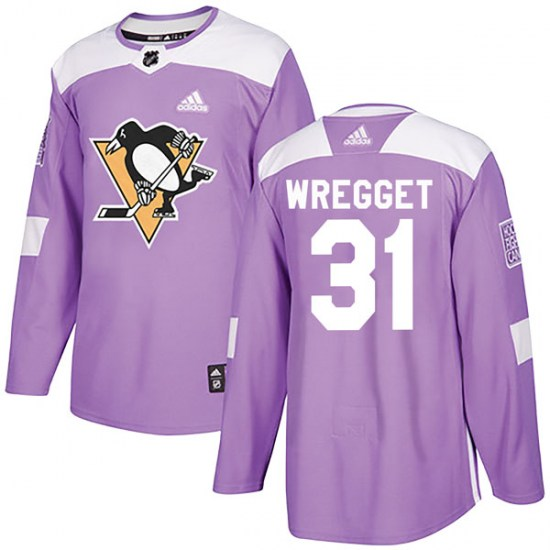 Ken Wregget Pittsburgh Penguins Youth Authentic Fights Cancer Practice Adidas Jersey - Purple