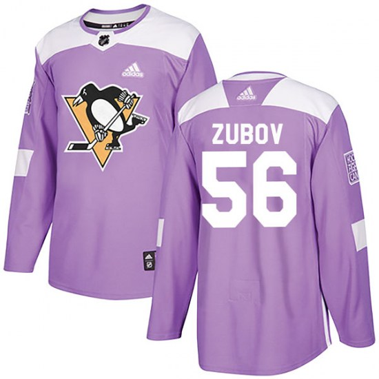 Sergei Zubov Pittsburgh Penguins Youth Authentic Fights Cancer Practice Adidas Jersey - Purple