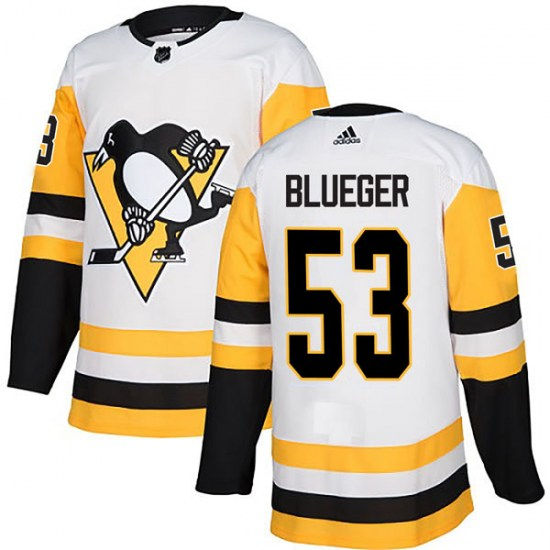 Teddy Blueger Pittsburgh Penguins Authentic White Away Adidas Jersey - Blue