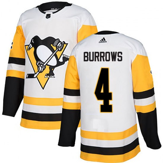 Dave Burrows Pittsburgh Penguins Authentic Away Adidas Jersey - White