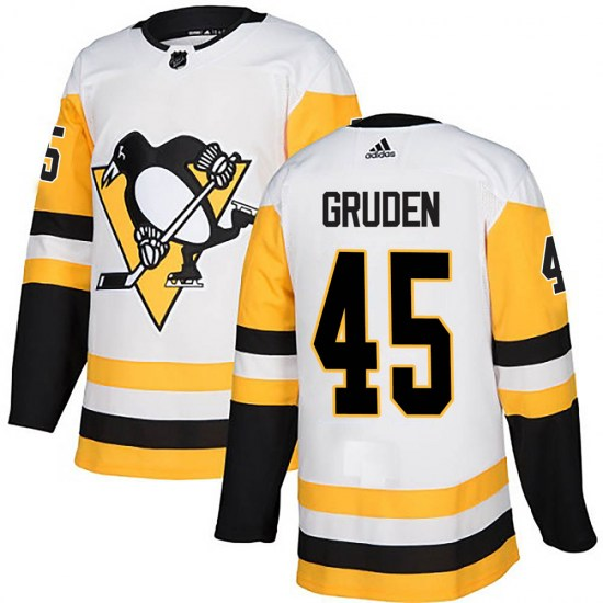 Jonathan Gruden Pittsburgh Penguins Authentic Away Adidas Jersey - White