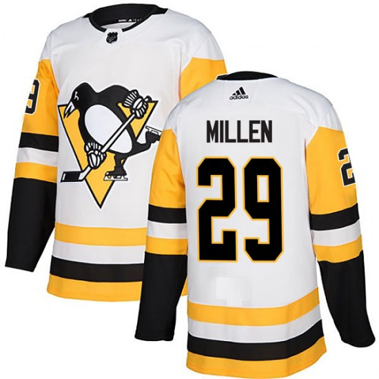 Greg Millen Pittsburgh Penguins Authentic Away Adidas Jersey - White