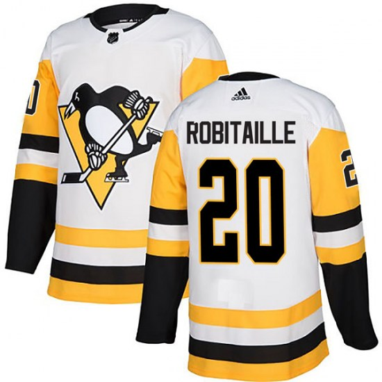 Luc Robitaille Pittsburgh Penguins Authentic Away Adidas Jersey - White