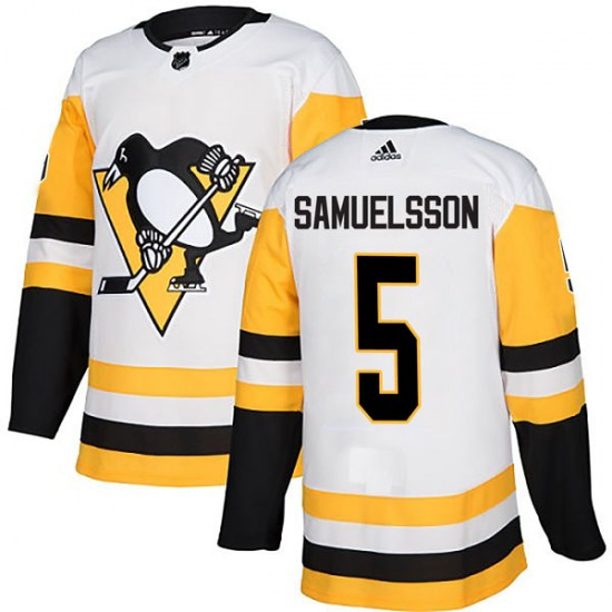Ulf Samuelsson Pittsburgh Penguins Authentic Away Adidas Jersey - White