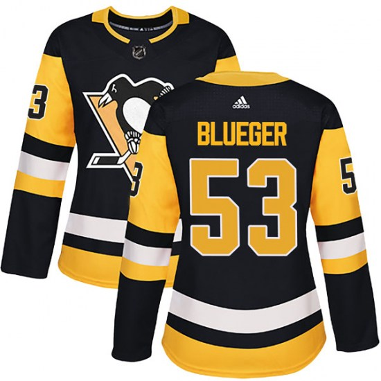 Teddy Blueger Pittsburgh Penguins Women's Authentic Black Home Adidas Jersey - Blue